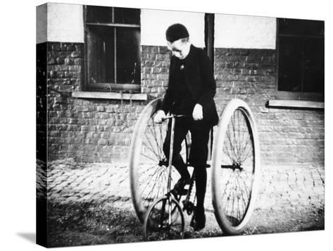 Johnny Dunlop Riding His Tricycle with Rubber Tyres, 1888--Stretched Canvas Print