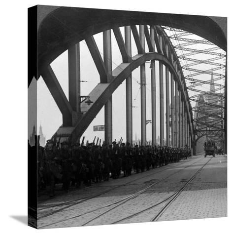 British Troops Crossing the Bridge over the Rhine, Cologne, Germany, 1918-1926--Stretched Canvas Print