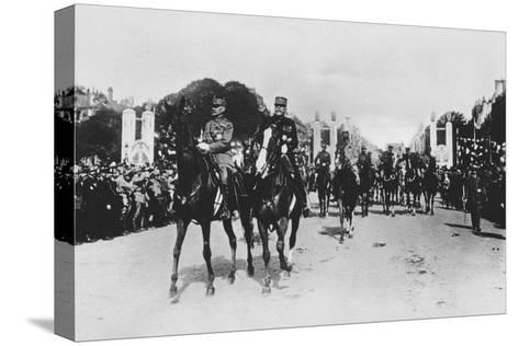 Marshals Foch and Joffre During the Grand Victory Parade, Paris, France, 14 July 1919--Stretched Canvas Print
