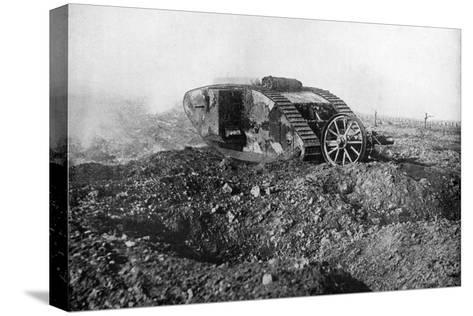 A Tank in Action on the Western Front, Somme, France, First World War, 1914-1918--Stretched Canvas Print