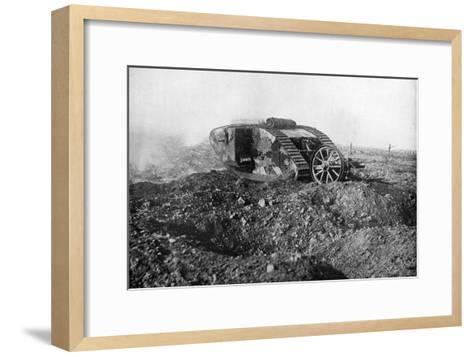 A Tank in Action on the Western Front, Somme, France, First World War, 1914-1918--Framed Art Print