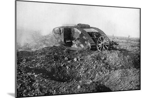 A Tank in Action on the Western Front, Somme, France, First World War, 1914-1918--Mounted Giclee Print