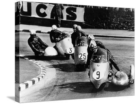 Fritz Scheidegger, Walter Schneider and Helmut Fath Competing in a Sidecar Race, 1959--Stretched Canvas Print