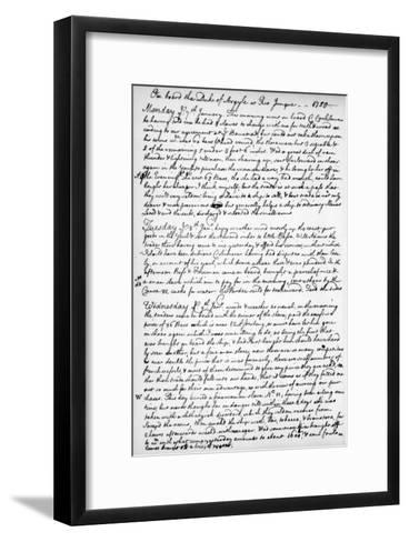 A Page from the Journal of John Newton, 1750-1754--Framed Art Print