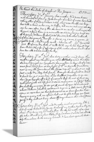 A Page from the Journal of John Newton, 1750-1754--Stretched Canvas Print