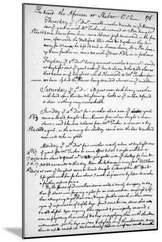 A Page from the Journal of John Newton, 1750-1754--Mounted Giclee Print