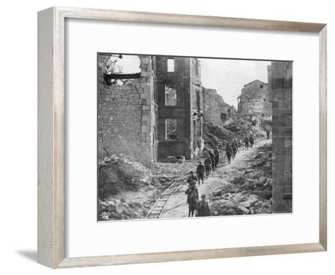 American Soldiers Passing Through the Ruins of Varennes, Meuse-Argonne Offensive, France, 1918--Framed Art Print
