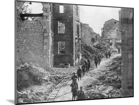 American Soldiers Passing Through the Ruins of Varennes, Meuse-Argonne Offensive, France, 1918--Mounted Giclee Print