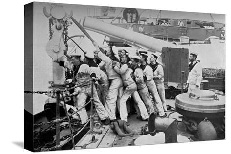Raising the Anchor on the Forecastle of the Battleship HMS Majestic, 1896-Gregory & Co-Stretched Canvas Print