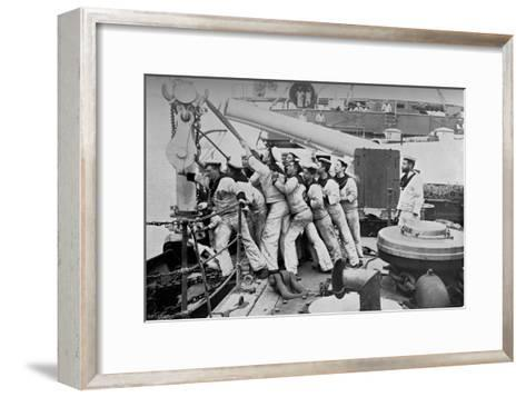 Raising the Anchor on the Forecastle of the Battleship HMS Majestic, 1896-Gregory & Co-Framed Art Print