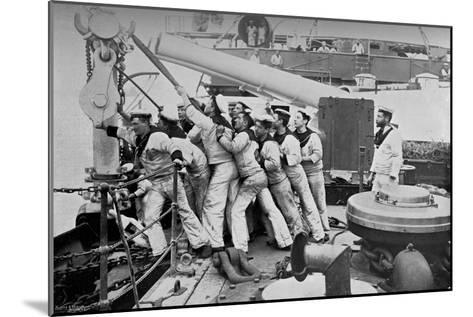 Raising the Anchor on the Forecastle of the Battleship HMS Majestic, 1896-Gregory & Co-Mounted Giclee Print