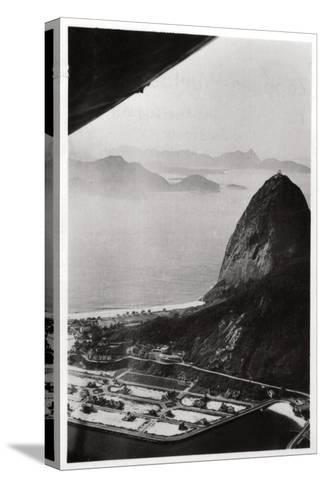 Aerial View of Sugarloaf Mountain, Rio De Janeiro, Brazil, from a Zeppelin, 1930--Stretched Canvas Print