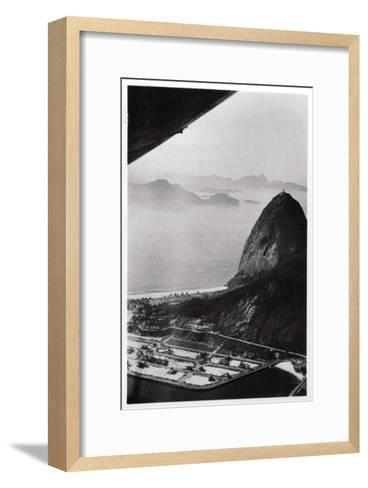 Aerial View of Sugarloaf Mountain, Rio De Janeiro, Brazil, from a Zeppelin, 1930--Framed Art Print