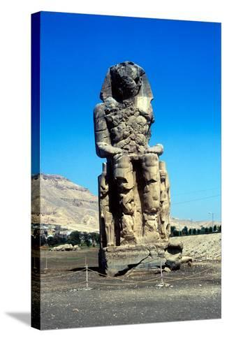 One of the Colossi of Memnon, Near the Valley of the Kings, Egypt, 14th Century Bc--Stretched Canvas Print