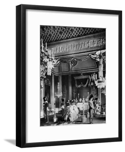 Edward VII Lying in State, Throne Room, Buckingham Palace, London, 1910--Framed Art Print