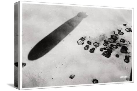 Aerial View of a Desert Settlement, with a Shadow Cast by a Zeppelin, 1931--Stretched Canvas Print