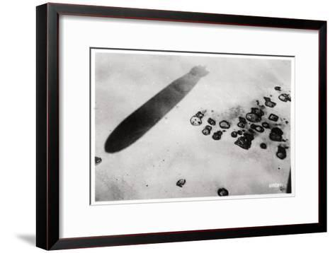 Aerial View of a Desert Settlement, with a Shadow Cast by a Zeppelin, 1931--Framed Art Print