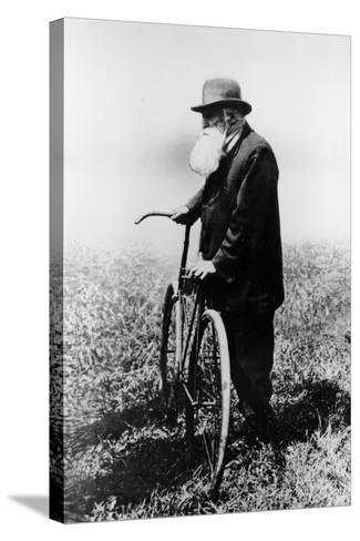 John Boyd Dunlop with Bicycle, July 1918--Stretched Canvas Print