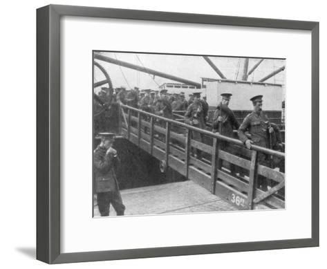 British Troops Disembarking in France, 7 August 1914--Framed Art Print