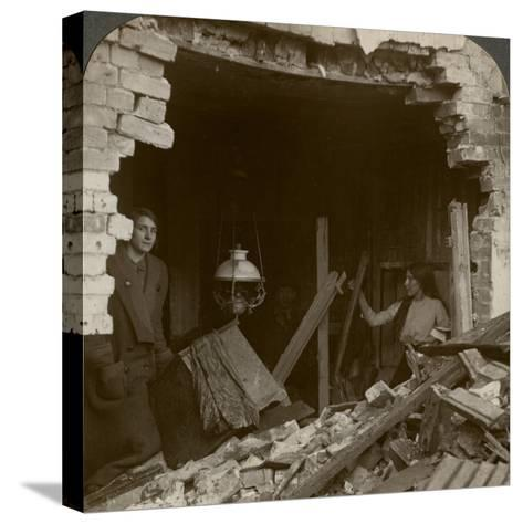 The Damage Done by a German Zeppelin Bomb, World War I, 1914-1918--Stretched Canvas Print