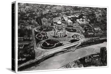 Aerial View of the Cathedral of Christ the Saviour, Moscow, USSR, from a Zeppelin, 1930--Stretched Canvas Print