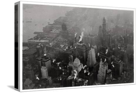 Aerial View of Manhattan, New York City, USA, from a Zeppelin, 1928--Stretched Canvas Print