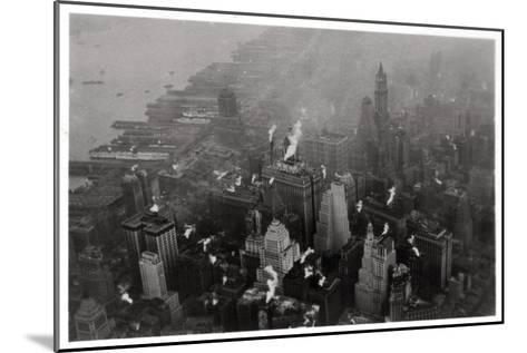 Aerial View of Manhattan, New York City, USA, from a Zeppelin, 1928--Mounted Giclee Print