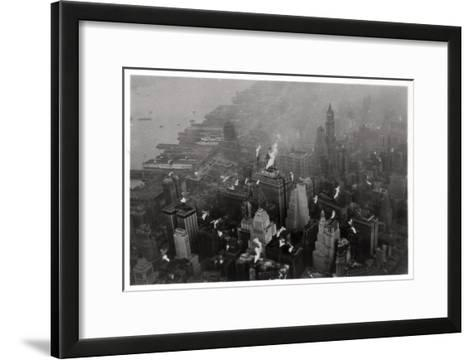 Aerial View of Manhattan, New York City, USA, from a Zeppelin, 1928--Framed Art Print