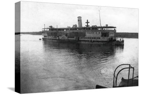 Red Cross River Boat Going Up the Tigris River, Mesopotamia, WWI, 1918--Stretched Canvas Print
