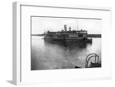 Red Cross River Boat Going Up the Tigris River, Mesopotamia, WWI, 1918--Framed Art Print