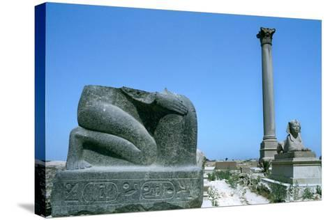 Pompey's Pillar, Alexandria, Egypt--Stretched Canvas Print