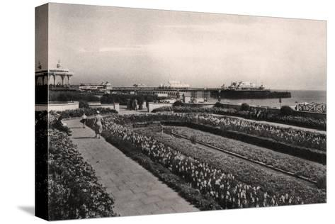 Floral Gardens and the West Pier, Brighton, Sussex, 1938--Stretched Canvas Print