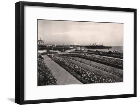 Floral Gardens and the West Pier, Brighton, Sussex, 1938--Framed Art Print