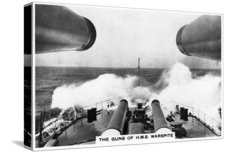 The Guns of the Battleship HMS Warspite, 1937--Stretched Canvas Print