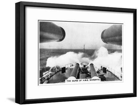 The Guns of the Battleship HMS Warspite, 1937--Framed Art Print