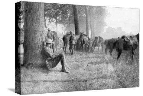 American Cavalry Unit at Rest, Chemin Des Dames, France, 1918--Stretched Canvas Print