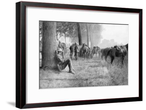 American Cavalry Unit at Rest, Chemin Des Dames, France, 1918--Framed Art Print