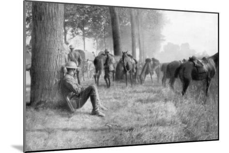 American Cavalry Unit at Rest, Chemin Des Dames, France, 1918--Mounted Giclee Print