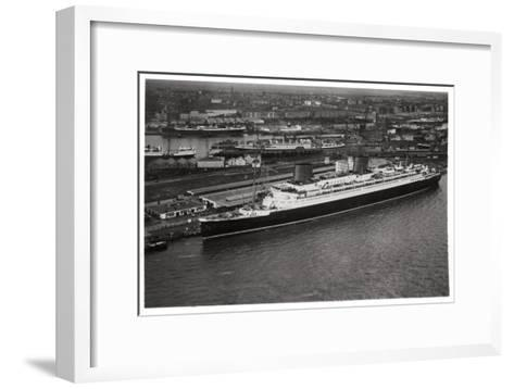 Aerial View of Bremen Harbour, Germany, and the Liner 'Europa, from a Zeppelin, C1931--Framed Art Print