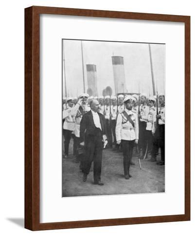 Tsar Nicholas II with French President Raymond Poincare, 1914--Framed Art Print