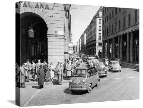 Fiat 600 Multipla Leading a Procession of Fiats, Italy, (Late 1950S)--Stretched Canvas Print