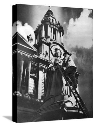 Cleaning the Statue of Queen Anne as Part of King George V's Silver Jubilee Celebrations, 1935--Stretched Canvas Print