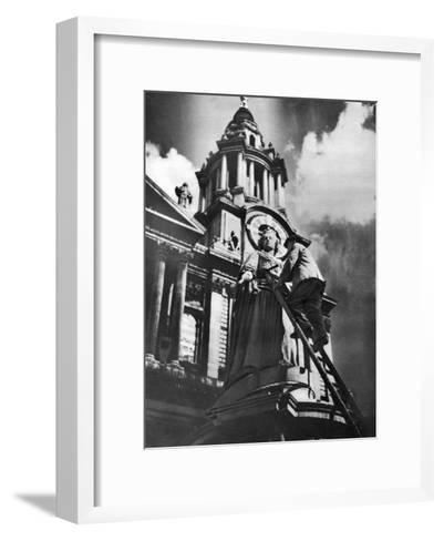 Cleaning the Statue of Queen Anne as Part of King George V's Silver Jubilee Celebrations, 1935--Framed Art Print