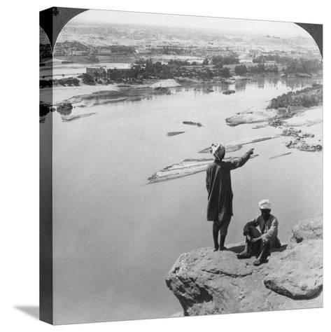 Aswan and the Island of Elephantine as Seen from the Western Cliffs, Egypt, 1905-Underwood & Underwood-Stretched Canvas Print