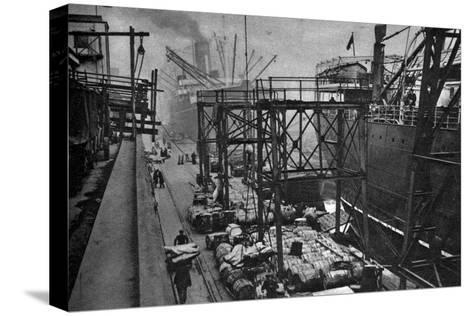 Merchant Ships in the Royal Albert Dock, London, 1926-1927--Stretched Canvas Print