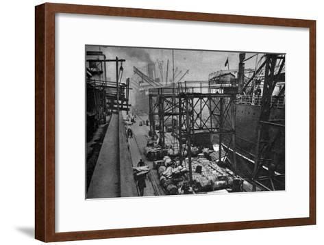 Merchant Ships in the Royal Albert Dock, London, 1926-1927--Framed Art Print