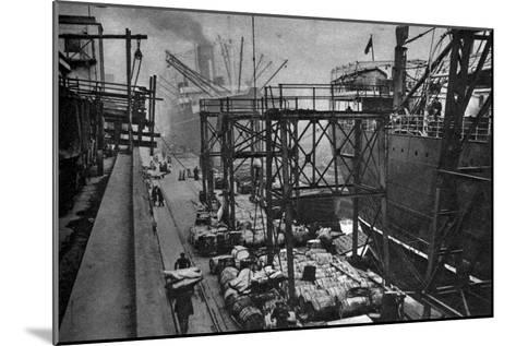 Merchant Ships in the Royal Albert Dock, London, 1926-1927--Mounted Giclee Print