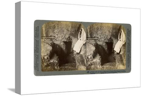 A Tomb with the Entrance Stone Rolled Away, Jerusalem, 1901-Underwood & Underwood-Stretched Canvas Print
