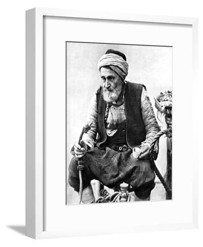 A Peasant Drinking Coffee and Smoking a Huqqah, Izmir, Turkey, 1936--Framed Art Print