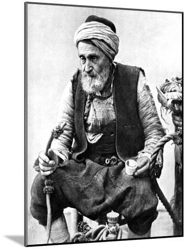 A Peasant Drinking Coffee and Smoking a Huqqah, Izmir, Turkey, 1936--Mounted Giclee Print